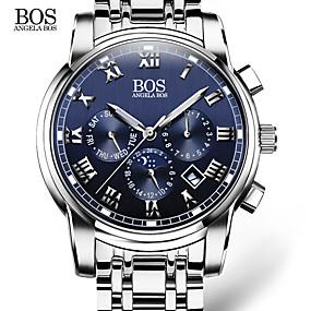cheap National promotion-AngelaBOS Men's Wrist Watch Quartz Stainless Steel White 30 m Calendar / date / day Luminous Analog Classic Casual Fashion Dress Watch - White Black Blue