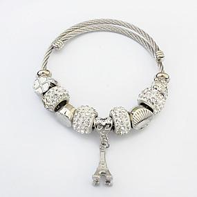 baratos Pulseira de Charme-Mulheres Pulseiras com Pendentes Bracelete Torre Torre Eiffel senhoras Europeu Fashion Liga Pulseira de jóias Prata Para Casual