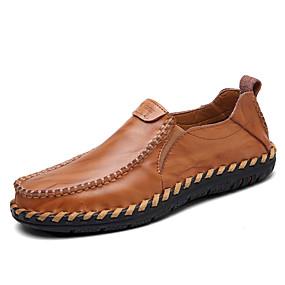 voordelige Wijdere maten schoenen-Heren Comfort Loafers Leer Lente / Herfst Loafers & Slip-Ons Wandelen Draagbaar Zwart / Lichtbruin / Bordeaux / EU40