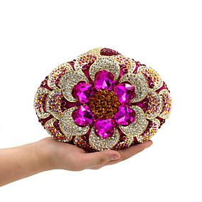 povoljno Clutch torbice-Žene Crystal / Rhinestone Večernja torbica Kristalne vrećice od kristalnog kamena Metal Cvijetni print Fuksija