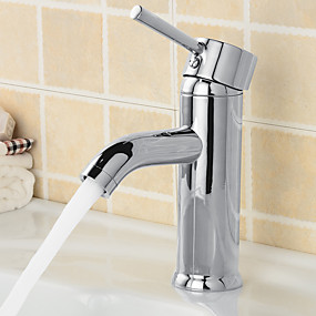 cheap Free Shipping-Bathroom Sink Faucet - Widespread Chrome Centerset Single Handle One HoleBath Taps
