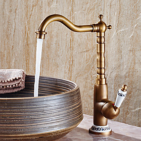 cheap Bathroom Sink Faucets-Bathroom Sink Faucet - Widespread Antique Copper Centerset Single Handle One HoleBath Taps