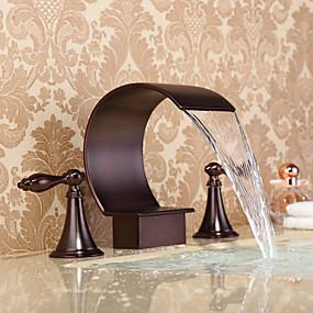 billige Baderomskraner-Baderom Sink Tappekran - Foss / Utbredt Olje-gnidd Bronse Udspredt To Håndtak tre hullBath Taps / Messing