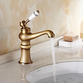 abordables Offres de la Semaine-Robinet lavabo - Séparé Cuivre antique Set de centre Mitigeur un trouBath Taps
