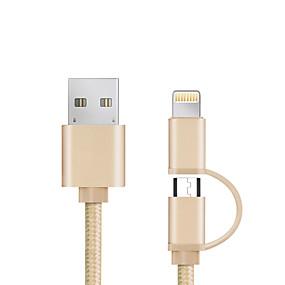 halpa Kaapelit ja Laturi-USB 2.0 Kaapeli <1m / 3ft Kaikki yhdessä / Punottu Alumiini / Nylon USB-kaapelisovitin Käyttötarkoitus iPad / Samsung / Apple