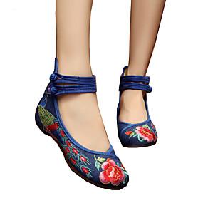 abordables Chaussures Plates pour Femme-Femme Oxfords Espadrille Talon Plat Bout rond Boucle / Fleur Toile Confort / Nouveauté / Chaussures brodées Marche Printemps / Eté Rouge / Vert / Bleu clair / EU42