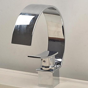 abordables Offres de la Semaine-Robinet lavabo - Jet pluie Chrome Set de centre Mitigeur un trouBath Taps / Laiton