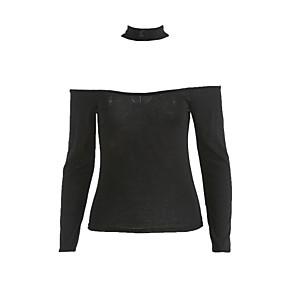 ราคาถูก yeshidon-สำหรับผู้หญิง เสื้อเชิร์ต ฝ้าย คอซอง สีพื้น สีดำ ขนาดเดียว / ตก / ผู้เค้นคอ
