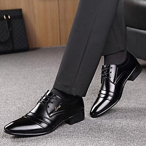 povoljno Muške oksfordice-Muškarci Formalne cipele Mikrovlakana Proljeće / Jesen Posao Oksfordice Hodanje Crn / Vezanje / Kombinacija materijala / Udobne cipele / EU40