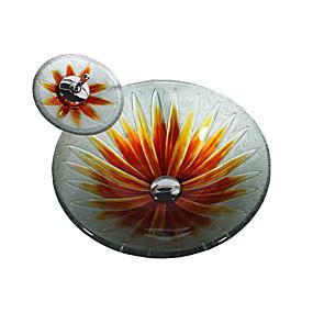 abordables Lavabos-Lavabo de Baño Moderno - Vidrio Templado Redondo