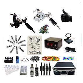 hesapli profesyonel dövme kitleri-BaseKey Dövme Makinesi Profesyonel Dövme Seti - 2 pcs Dövme Makineleri LCD güç kaynağı Kılıf Dahil 2 x çizgi ve gölgelendirme için çelik dövme makinesi