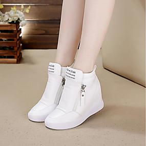 povoljno Ženske tenisice-Žene Sneakers Wedge Heel Okrugli Toe Patent-zatvarač Mikrovlakana Tenisice platforme Hodanje Proljeće / Ljeto Obala / Crn / EU39