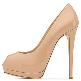 voordelige Wijdere maten schoenen-Dames Hoge hakken Naaldhak Peep Toe PU Club Schoenen Lente / Zomer Vleeskleurig / Bruiloft / Feesten & Uitgaan / Formeel / Feesten & Uitgaan