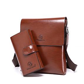 preiswerte Taschensets-Herrn Taschen Leder Bag Set 2 Stück Geldbörse Set Solide Braun / Khaki