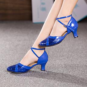 billige Dansesko-Dame Dansesko Moderne sko Tvinning Høye hæler Kustomisert hæl Kan spesialtilpasses Rød / Blå / Rosa / Innendørs / EU39