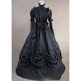 billige Leker og hobbyer-Gothic Lolita Victoriansk Kjoler Dame Jente Fest Skoleball Japansk Cosplay-kostymer Store størrelser Tilpasset Svart Ballkjole Vintage Klokke Langermet Gulvlang Lang Lengde / Gotisk Lolita