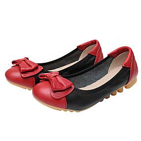 baratos Sapatos Esportivos Femininos-Mulheres Rasos Sem Salto Ponta Redonda Laço Couro / Pele Napa / Pele Conforto / Bailarina / Solados com Luzes Caminhada Primavera / Verão Preto / Vermelho / Amêndoa