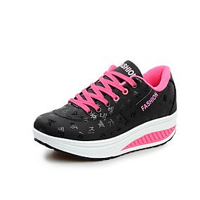 voordelige Damessneakers-Dames Sneakers Plateau / Sleehak Ronde Teen Veters Microvezel Comfortabel / Lichtzolen Lente / Zomer Zwart / Geel / Blauw / EU39