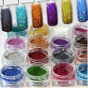 billige Nail Glitter-1set 17pcs Pudder / Glitter Powder Elegant & Luksuriøs / Glitrende / Nail Glitter Nail Art Design