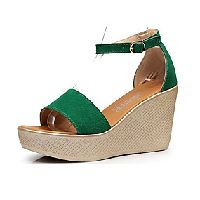 cheap Women's Wedges-Women's Sandals Wedge Heel Peep Toe Suede Summer Black / Red / Green / Club Shoes