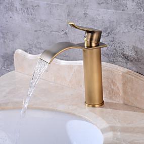 billige Ugentlige tilbud-Baderom Sink Tappekran - Foss Antikk Kobber Centersat Enkelt Håndtak Et HullBath Taps