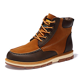 cheap Men's Boots-Men's Comfort Shoes Nubuck leather / Fleece Fall / Winter Boots Mid-Calf Boots Black / Yellow / Blue / Split Joint / Outdoor / Fashion Boots / EU40