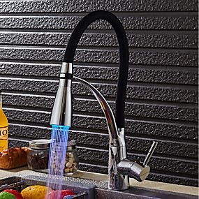 abordables Spray Amovible-Robinet de Cuisine - Moderne / Contemporain Chrome Eclairage LED / Pull-out / Pull-down Vasque / Laiton