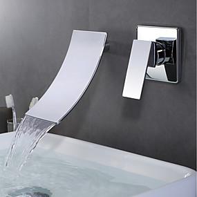 abordables Offres de la Semaine-Robinet lavabo - Jet pluie Chrome Montage mural Mitigeur deux trousBath Taps / Laiton