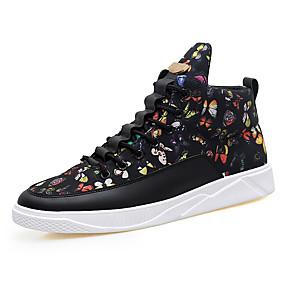 baratos Tênis Masculino-Homens Sapatos Confortáveis Lona Primavera / Outono Tênis Preto / Preto e Dourado / Branco / Preto / Cadarço