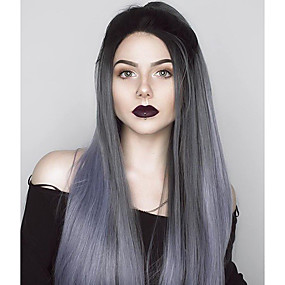 cheap Uniwigs®-Synthetic Lace Front Wig Straight Style Lace Front Wig Gray Grey Synthetic Hair Women's Ombre Hair Gray Wig Long Uniwigs Natural Wigs
