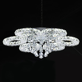 cheap Home Improvement-Flush Mount Ambient Light Chrome Metal Crystal, LED 110-120V / 220-240V White LED Light Source Included / LED Integrated