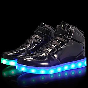 baratos Kids' Shoes Promotion-Para Meninos Couro Envernizado / Materiais Customizados Tênis Little Kids (4-7 anos) / Big Kids (7 anos +) Conforto / Tênis com LED Cadarço / Colchete / LED Prata / Azul / Rosa claro Outono / TR