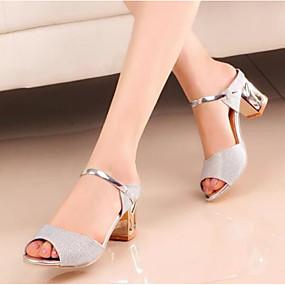 cheap Women's Sandals-Women's Nubuck leather / Glitter Spring / Fall Basic Pump Sandals Block Heel Gold / Silver
