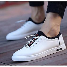 baratos Tênis Masculino-Homens Sapatos Confortáveis Couro Ecológico Primavera / Verão Tênis Preto / Branco