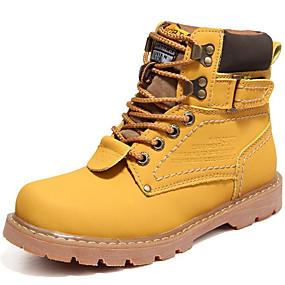 voordelige Wijdere maten schoenen-Heren Snowboots Leer Herfst / Winter Vintage Laarzen Korte laarsjes / Enkellaarsjes Bruin / Geel / Koffie / Veters / ulko- / Legerlaarzen