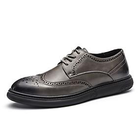 baratos Oxfords Masculinos-Homens Sapatos formais Couro Outono / Inverno Oxfords Preto / Cinzento / Cadarço / EU39