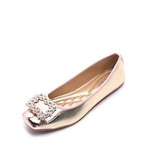 cheap Women's Flats-Women's Shoes Flocking / Leatherette Summer / Fall Comfort Flats Flat Heel Square Toe Rhinestone Gold / Black / Silver