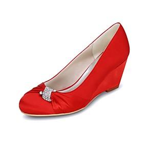 cheap Women's Wedges-Women's Wedding Shoes Wedge Heel Round Toe Rhinestone Satin Basic Pump Spring / Summer Blue / Champagne / Ivory / Party & Evening / EU39