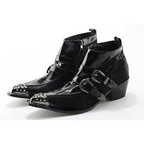 baratos Botas Masculinas-Homens Fashion Boots Couro / Pêlo de Cavalo Outono / Inverno Botas Botas Curtas / Ankle Preto / Casamento / Festas & Noite / Festas & Noite / Curta/Ankle
