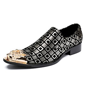 baratos Oxfords Masculinos-Homens Sapatos formais Pele Napa Outono / Inverno Oxfords Dourado / Prata / Casamento / Festas & Noite / Festas & Noite / Sapatas de novidade