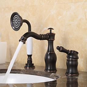 voordelige Vintage kranen-Badkraan - Antiek / Traditioneel Olie-Gewreven Brons 3-gats kraan Keramische ventiel Bath Shower Mixer Taps / Single Handle drie gaten