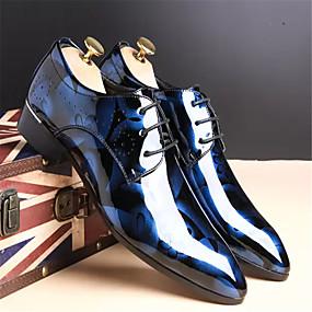 baratos Oxfords Masculinos-Homens Sapatos formais Couro Primavera / Outono Oxfords Caminhada Antiderrapante Preto / Vermelho / Azul / Cadarço / Sapatos Confortáveis