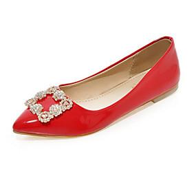 voordelige Damesschoenen met platte hak-Dames Platte schoenen Platte hak Gepuntte Teen Strass PU Comfortabel / Noviteit Lente / Zomer Wit / Zwart / Rood / Feesten & Uitgaan