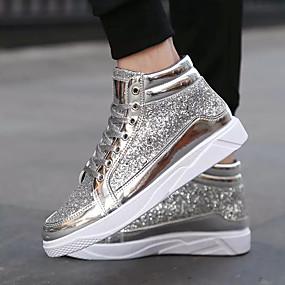 baratos Tênis Masculino-Homens Sapatos Confortáveis Couro Ecológico Primavera / Outono Tênis Preto / Dourado / Prata / EU40