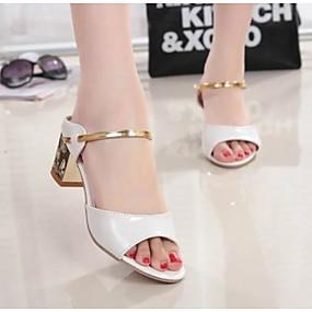 abordables Chaussures & Sacs-Femme Sandales Talon Bottier Bout ouvert Polyuréthane Confort Eté Dorée / Blanc / Argent / EU36