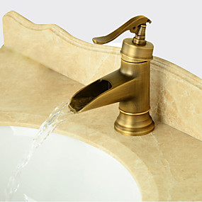 billige Ugentlige tilbud-Baderom Sink Tappekran - Forskyll / Foss / Utbredt Antikk Kobber Centersat Enkelt Håndtak Et HullBath Taps