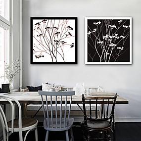 baratos Pinturas-Quadros Emoldurados Conjunto Emoldurado - Abstrato Floral / Botânico Plástico Ilustração Arte de Parede