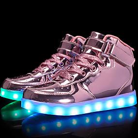 voordelige Damessneakers-Dames Sneakers Platte hak Ronde Teen Gesp Kunstleer Comfortabel / Oplichtende schoenen Wandelen Lente / Herfst Goud / Zilver / Roze