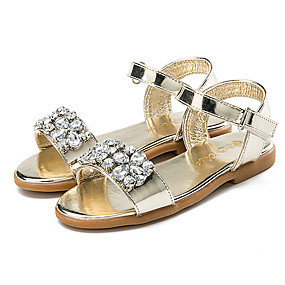 d46f407e44d5 Girls  Shoes Patent Leather Summer Slingback   Flower Girl Shoes Sandals  Sparkling Glitter   Hook   Loop for Gold   Silver