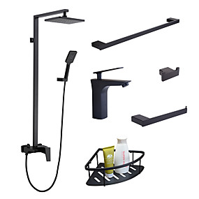cheap Faucet Sets-Faucet Set - Rain Shower / Widespread / Handshower Included Black Wall Installation Single Handle One HoleBath Taps